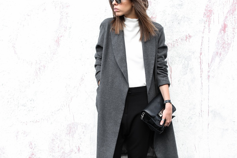 modern legacy fashion blog street style ASOS sale Oversized Grey Masculine coat Common Projects leather pool slide sandals Camilla and Marc Assent high neck top ankle zip Domain pants classic (5 of 11)