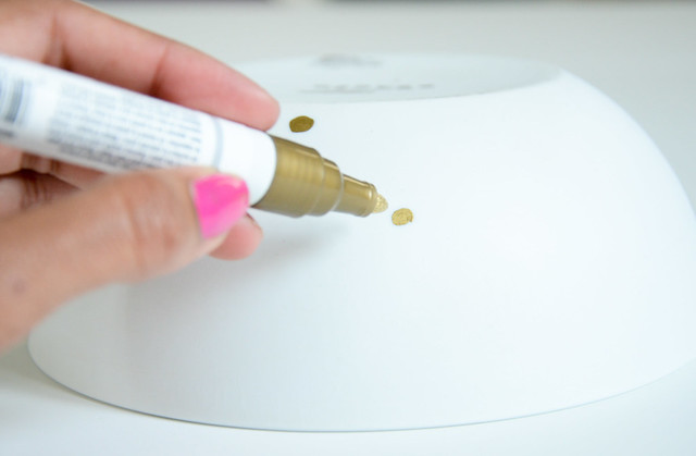 Easy DIY - Gold sharpie polka dot white bowl