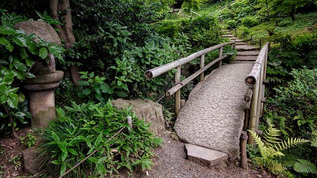 Footbridge in Sankei-en Gardens, Yokohama, Japan