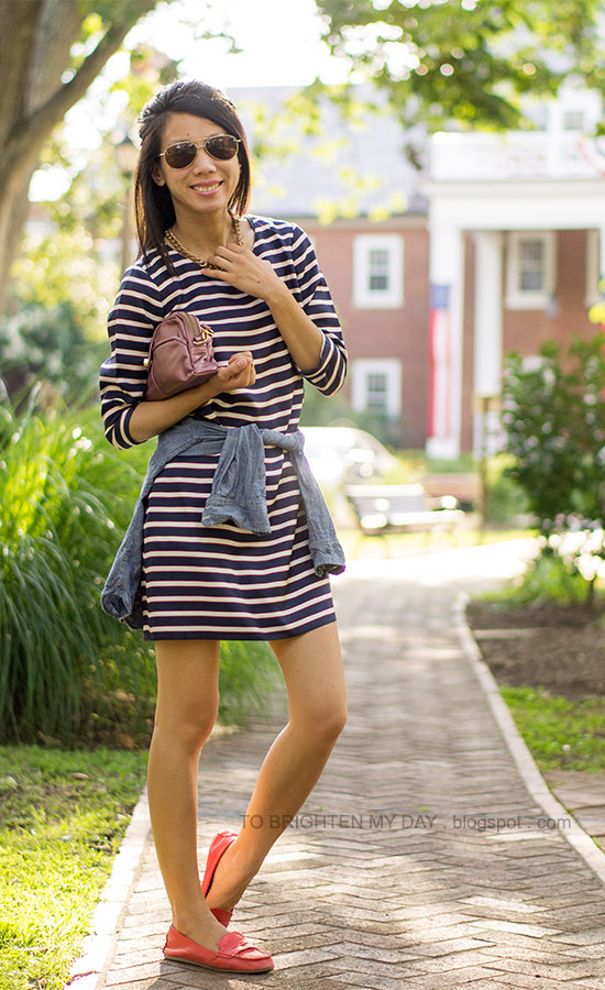 striped shift dress, pink metallic clutch, red loafers