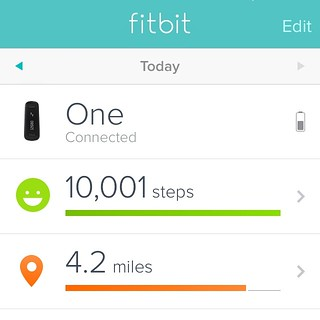 Today is my #OneYearAnniversary of when I got my #fitbit. #10,000 steps every day, still going strong.