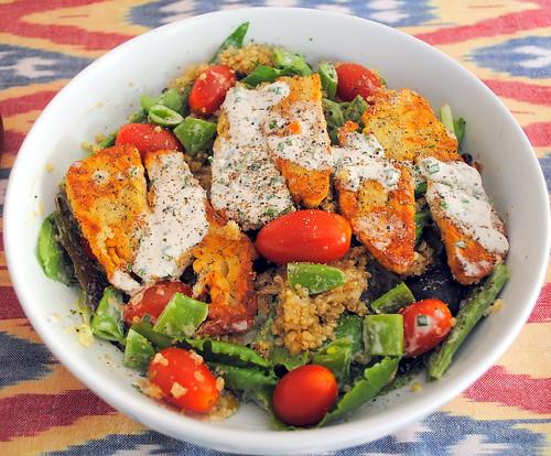 Halloumi, Snap Pea, Tomato & Quinoa Salad