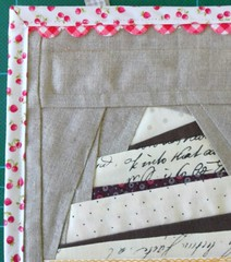 Detail of birthday banner, with Grandmother's rick rack