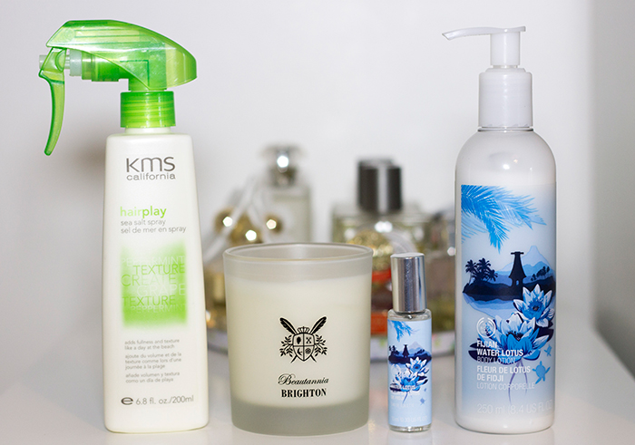 KMS California Sea Salt Spray, Beautannia Brighton Candle, The Body Shop Fijian Water Lotus Range