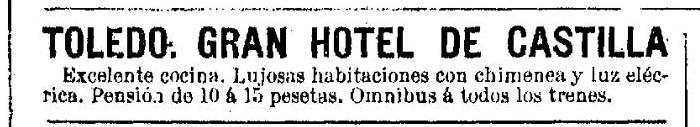 anuncio hotel castilla 1896