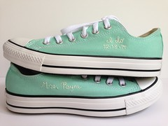 Mint flavored embroidered wedding Converse