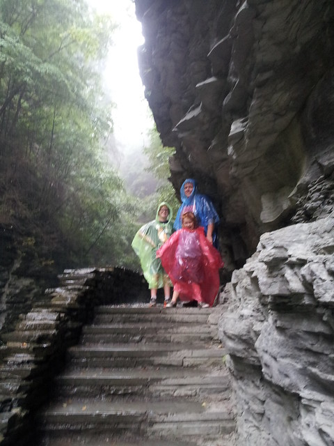 How proud and prepared was i when I whipped out ponchos for our 3 mile hike in the pouring rain? Spectacular gorge and waterfalls in Watkins Glen, NY