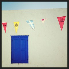 Ascension Day bunting, every church square in Greece (well on Naxos and Amorgos) is festooned. #amonthingreece