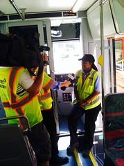 Operator Saundra Harrison being interviewed