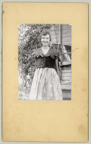 Woman and porch swing