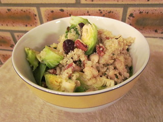 Quinoa, White Beans, and Brussels Sprouts with Peacan and Cranberries
