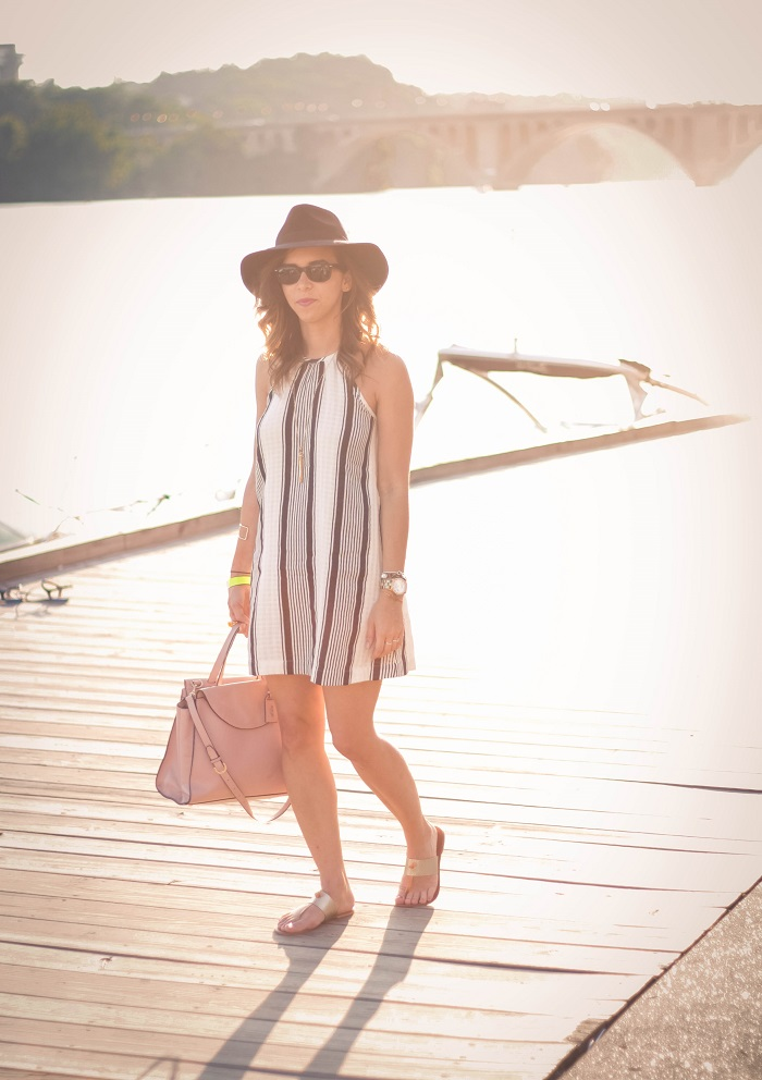 va darling. dc blogger. virginia personal style blogger. swing dress. georgetown waterfront. felt fedora hat. joie sandals. summer style 3