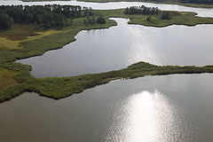 Aerial view of  Hail Cove at Eastern Neck National Wildlife Refuge, where the 4,000 foot living shoreline planned for the site will protect 400 acres of marsh land.