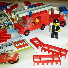 My brain will explode if I sort through all the butterfly and bug pics I took today during more cattail maintenance, so here are some #vintage #Legos I got for $2.50. The #minifig has a sticker for his shirt and cannot fit into the #firetruck :D #1979 #af