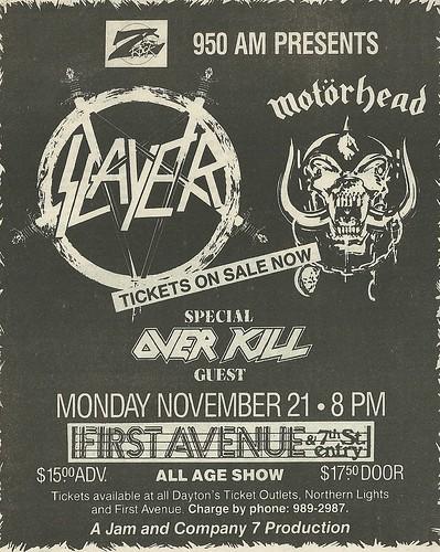 11/21/88 Slayer/ Motorhead/ Overkill @ First Avenue, Minneapolis, MN (Ad 1)