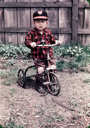 Japanese Kid on Tricycle 1950s
