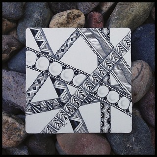 "Zentangle® Inspired Art : Weekly Challenge #182 Stripes : ""Pathways"""