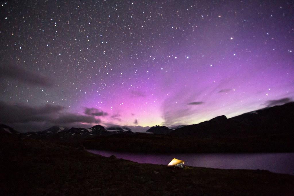 Flares from aurora borealis in the Norhern starsky. Memerutunga. Jotunheimen NP.