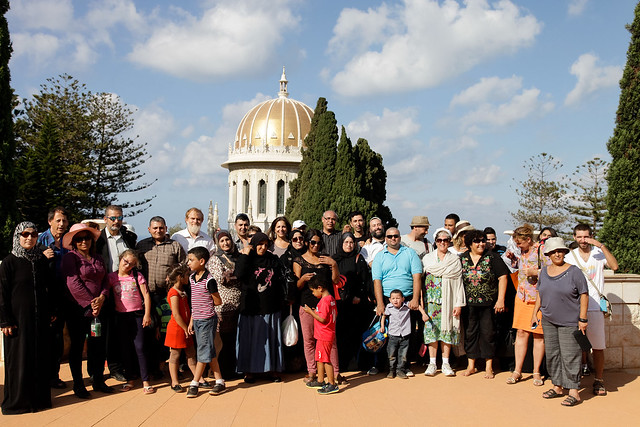 Uniting Abraham's family, in the Bahai gardens
