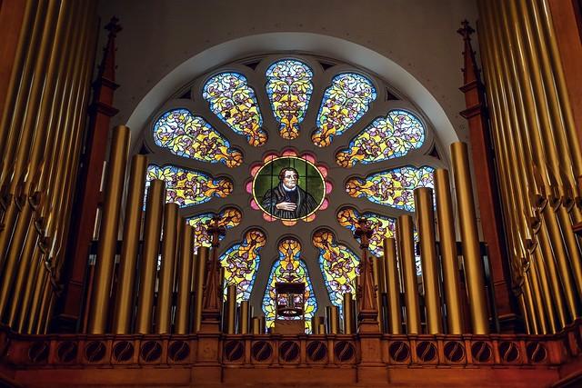 Grace Evangelical Lutheran Church window in organ loft