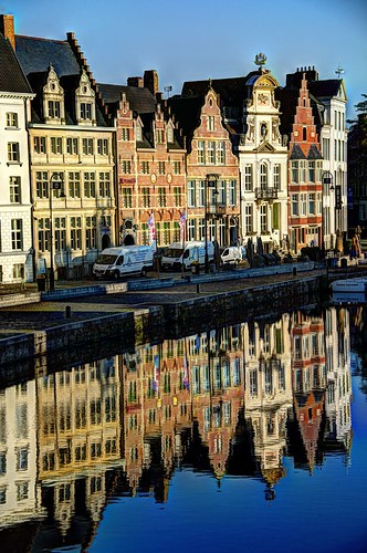 reflection water sunrise river waterfront belgium ghent gent hdr