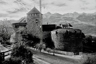 Image of Schloss Vaduz. trip travel vacation blackandwhite monochrome architecture landscape photography switzerland europe swiss liechtenstein schloss vaduz historicallandmark schlossvaduz vaduzcastle monomonday