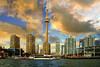 Toronto CN tower and quay