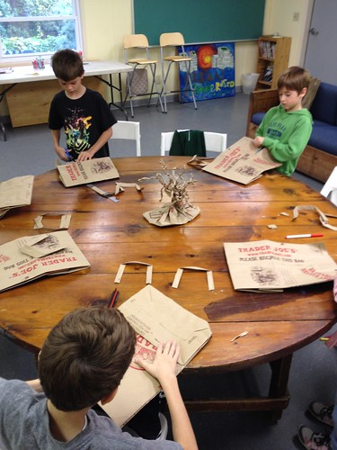 Cup Car Derby and Crafting a brown paper bag into its original form