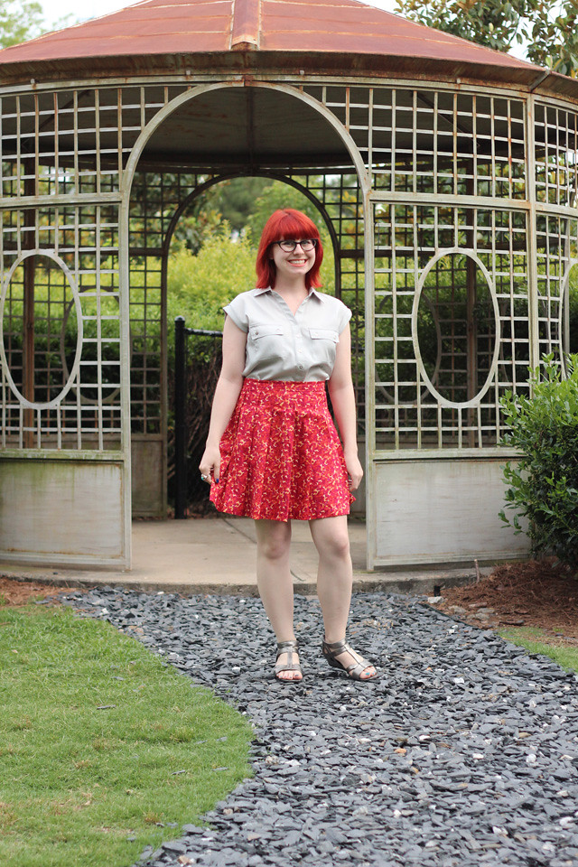 Work Outfit: Silver Shirt, Red Floral Pleated Skirt, Cat Eye Glasses, and Silver Sandals