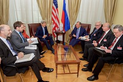 U.S. Secretary of State John Kerry and his advisers sit with Russian Foreign Minister Sergey Lavrov and their counterparts on June 30, 2015, in Vienna, Austria, before a bilateral meeting amid P5+1 negotiations with Iranian leaders about the future of their nuclear program. [State Department photo/ Public Domain]