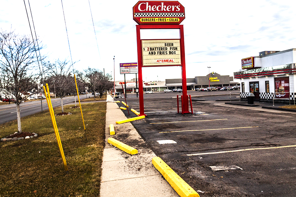 Parking blocks knocked from positions--Redford