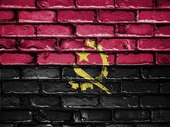 National Flag of Angola on a Brick Wall