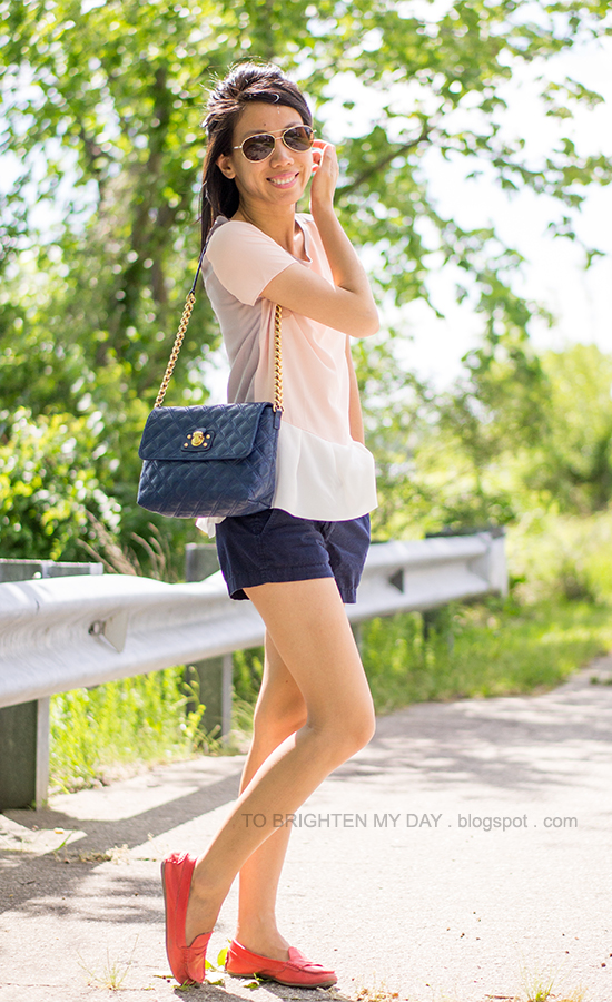 colorblock peplum top, navy shorts, red loafers