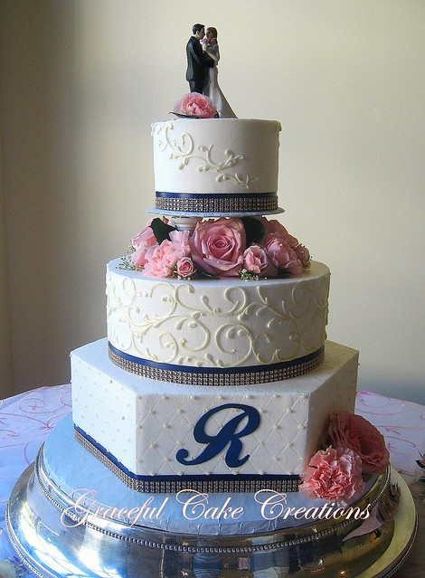 navy blue and blush pink wedding cakes ivory wedding cake with navy blue and champagne 17746
