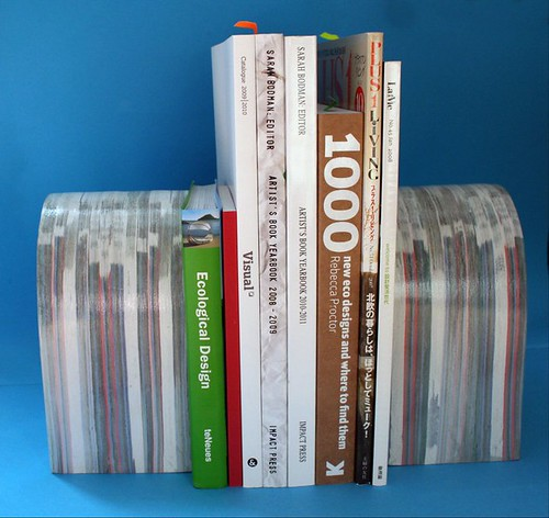 compressed paper sculpture rounded bookends