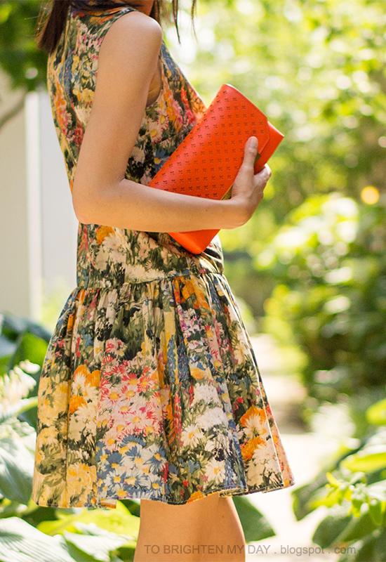 wildflower dress, orange clutch