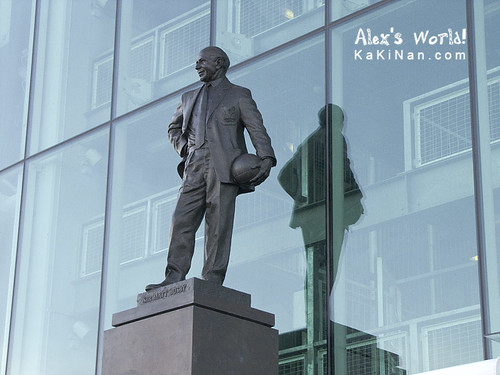 Statue of Sir Alexander Matthew Busby in front of Old Trafford stadium