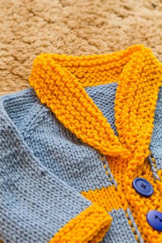 Shawl collar on baby sweater