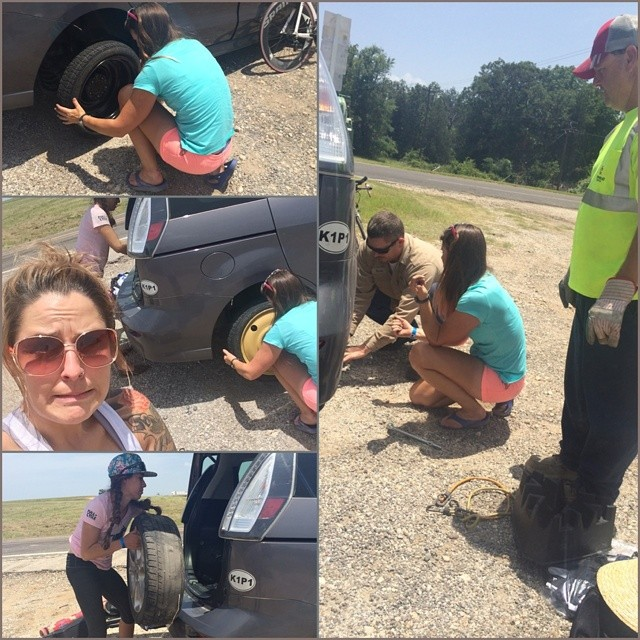 You didn't know I was a car tire changer TOO. Just needed a lil help loosening up the lugs... Woot woot! The adventure continues... #triouradventure #flattire #roadtrip @publiclyhiding @vickic321