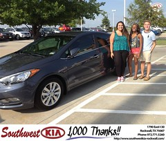 #HappyAnniversary to Lauren Dodge on your 2014 #Kia #Forte from Kathy Parks at Southwest KIA Rockwall!