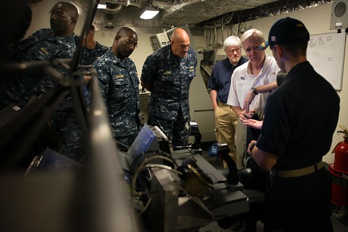 PACIFIC OCEAN (NNS) -- Secretary of the Navy (SECNAV) Ray Mabus visited Sailors aboard USS Independence (LCS 2) as the ship participated in the 2014 Rim of the Pacific (RIMPAC) exercise off the coast of Hawaii.