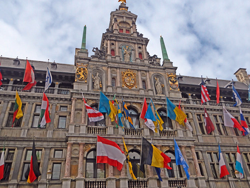 Main Building with Flags in Downtown Antwerp, Belgium