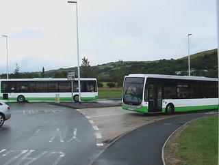 Unbranded TrawsCymru Optare Tempo buses in Aberystwyth