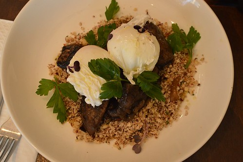 Fleetwood Macchiato: Cauliflower, hazelnut, tarragon, mushroom, poached eggs