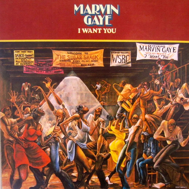 """sugar shack,"" painted by durham native ernie barnes, on the cover of marvin gaye's i want you - durham history hub"