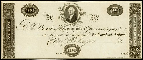 Bank of Washington $100 proof