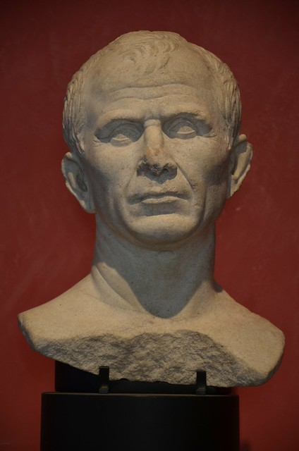 Marble bust found in the Rhone River near Arles, debated as a possible portrait of Julius Caesar, Musée de l'Arles antique