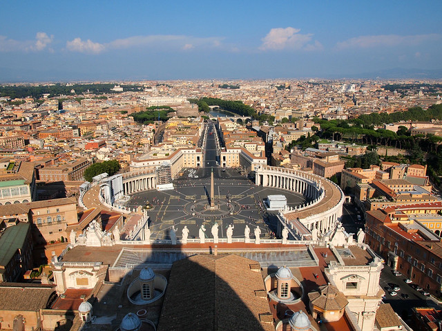 The view of Vatican City from the dome of St. Peter's