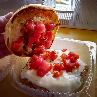 Lunch time! Chicken Bruschetta Burger from Big Daddy's Burgers and it's friggin amazing!!!  #foodstagram #FoodTruck #chicken #burger #Massachusetts #delish #yumo