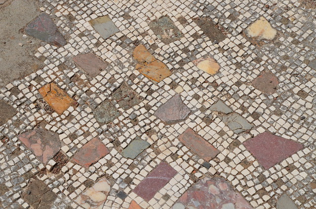 Opus sectile fragments within a tessellated pavement, Hadrian's Villa, Tivoli